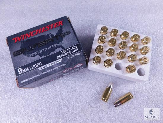 20 Rounds Winchester Silvertip Power To Defend 9mm Luger 147 Grain Defense JHP