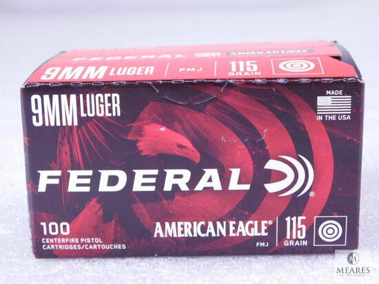100 Centerfire Pistol Rounds Federal American Eagle 9mm Luger FMJ 115 Grain Target