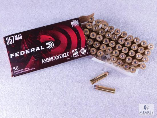 50 Centerfire Pistol Rounds Federal American Eagle 357 MAG JSP 158 Grain Target