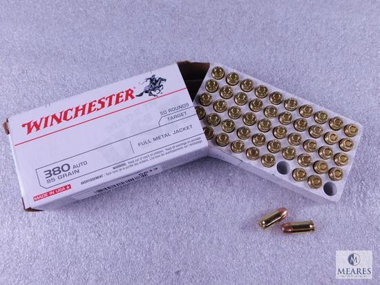 50 Rounds Winchester .380 ACP Ammo. 95 Grain FMJ