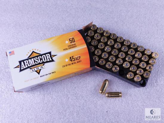 50 Rounds Armscor .45 ACP Ammo. 230 Grain FMJ