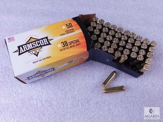 50 Rounds Armscor .38 Special Ammo. 158 Grain FMJ