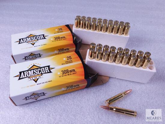 40 Rounds Armscor .308 Winchester Ammo. 147 Grain FMJ