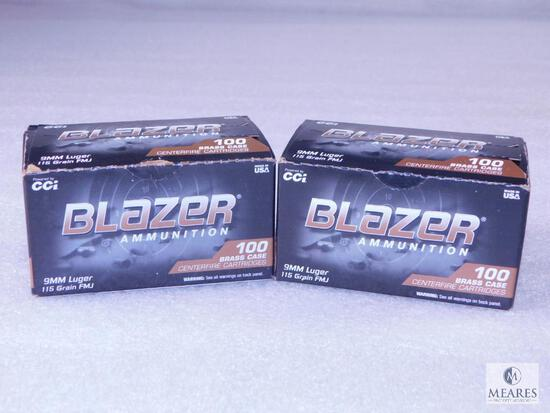 200 Rounds CCI Blazer 9mm Ammo. 115 Grain FMJ