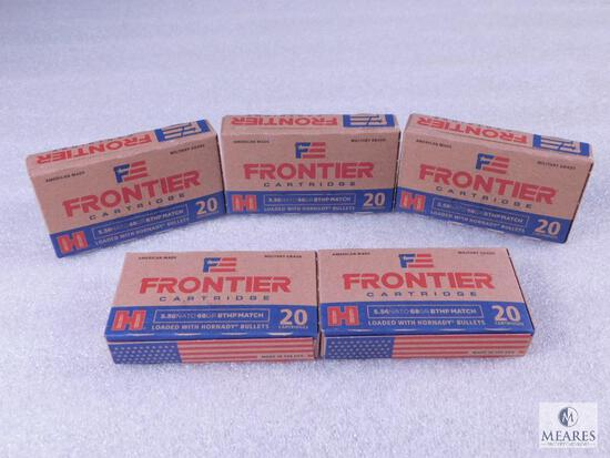 100 Rounds Hornady 5.56 Ammo. 68 Grain Boat Tail Hollow Point Match