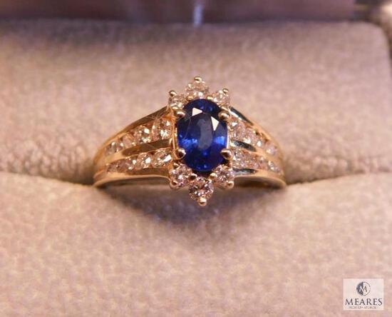 18KW 1.06CT Oval Sapphire 0.40 CTW Diamond Ring