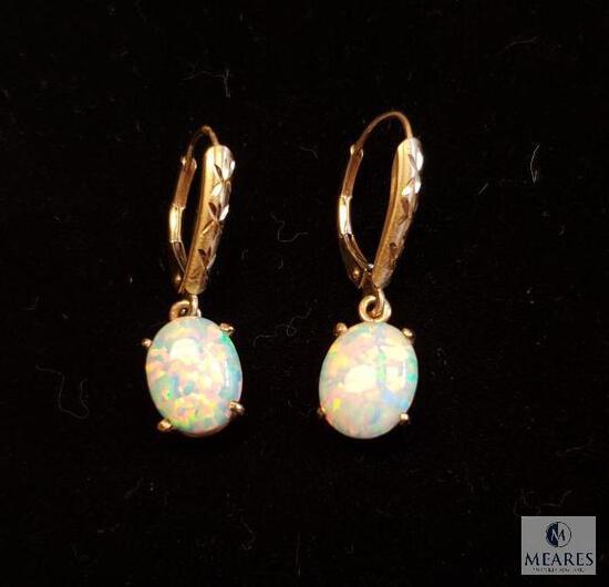 14KT Yellow Gold Opal Drop Earrings