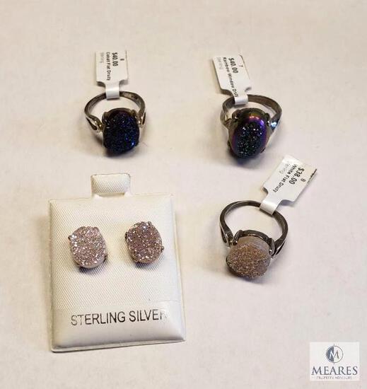 Three Druzy Rings and One Pair of Post Earrings