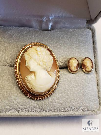 Cameo Brooch/Pendant with Matching Push Back Post Earrings