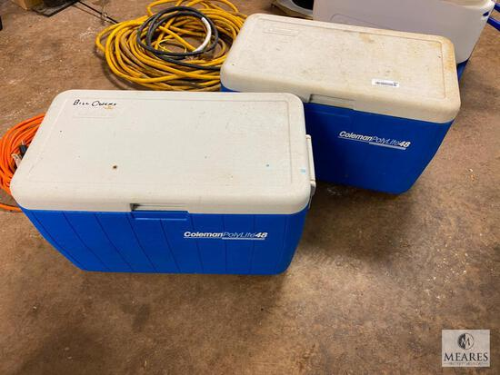 Group of TWO Coleman PolyLite 48 Ice Chests (PICKUP ONLY)