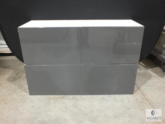 "Ikea ""Besta Tofta"" Two- Piece Cabinet White with Gray Gloss Doors"