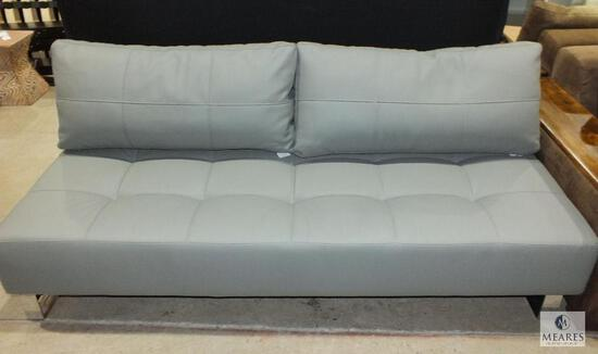 Gray Leather-Like Contemporary Style Sofa