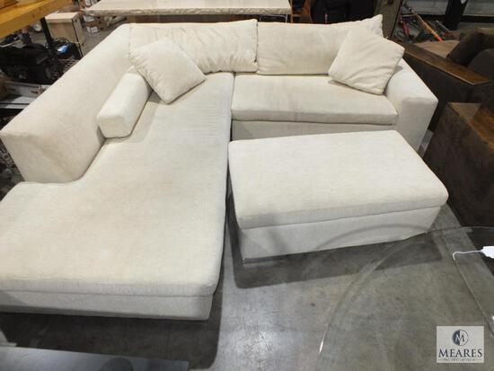Large Ivory Microfiber Sectional with Ottoman