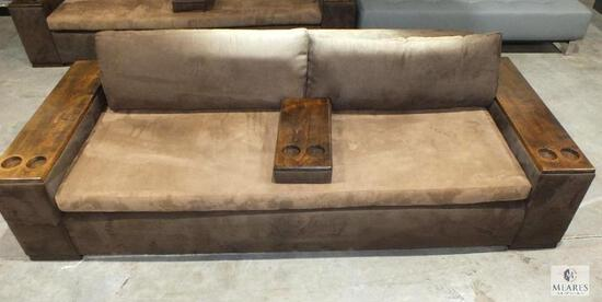 Brown Microfiber Contemporary Style Sofa with Wood Armrest