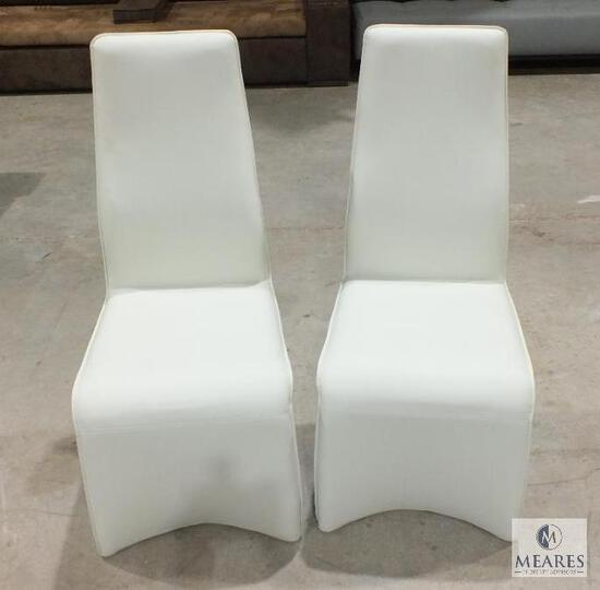 Pair of Contemporary Style Leather Like Covered Dining Chairs