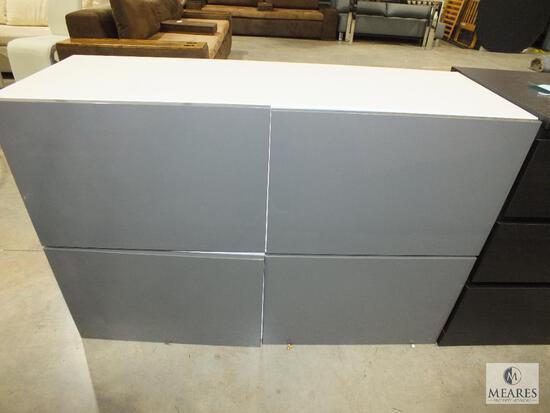 "Ikea ""Besta Tofta"" 2 Piece Cabinet White with Gray Gloss Doors"