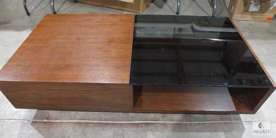 Wood Sofa Table with Smoke Glass Insert