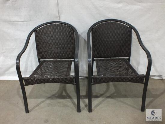 Pair or Indoor / Outdoor Wicker Arm Chairs