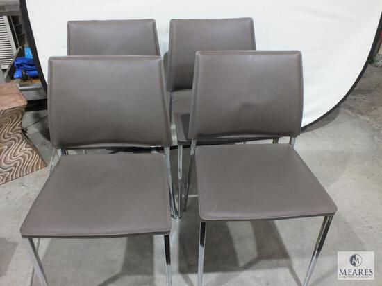 Group of Four Stackable Chairs Brown Vinyl Cushion with Chrome Legs