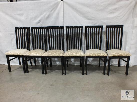Set of Six Black Acrylic Dining Chairs with Tan and Beige Zebra Upholstered Cushions