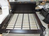 Ikea Queen Size Bed Frame - Dark Brown Finish with Beautyrest Recharge Mattress