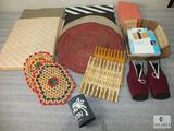 Lot of Assorted Placemats, Napkins, Wood Basket, Koozies