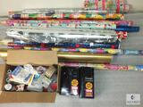 Large Lot of Gift Wrap, Ribbons and Party Supplies