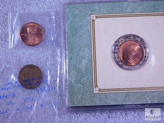 U.S. Mint Error-Off Center Lincoln Cent in Display Half, 1955-S Lincoln, 1984 BU Lincoln with the