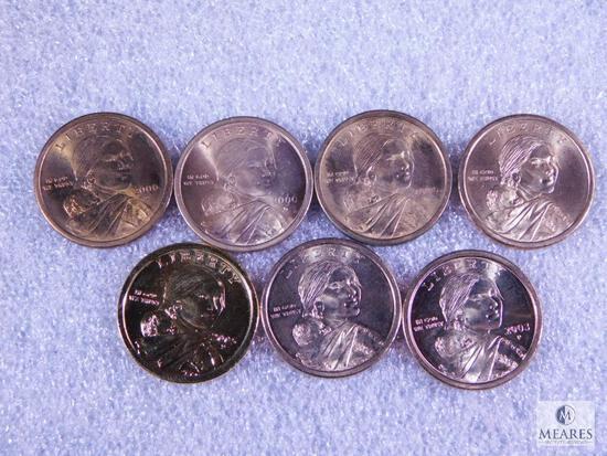 Seven Assorted Sacagawea Dollar