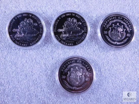 Four 2003 Liberia $5.00 Proof Coins Commemorating Space Shuttle Columbia
