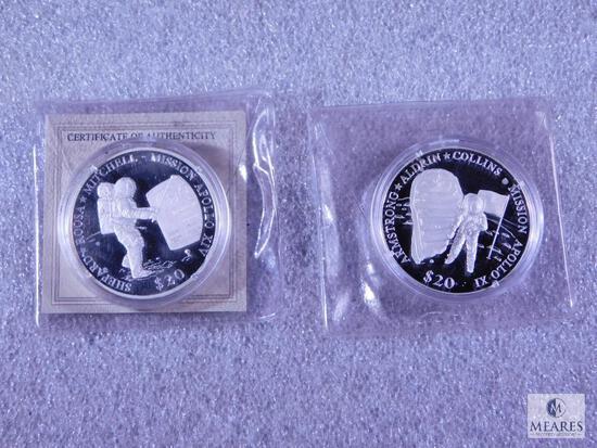 Two 2000 $20 Liberia Proof Coins Commemorating Apollo XI & Apollo XIV