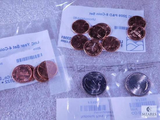2009 Lincoln Four Coin Set BU, 2009 Lincoln Eight Coin Set BU, Mt. Rushmore 7 Grant Sand Dunes