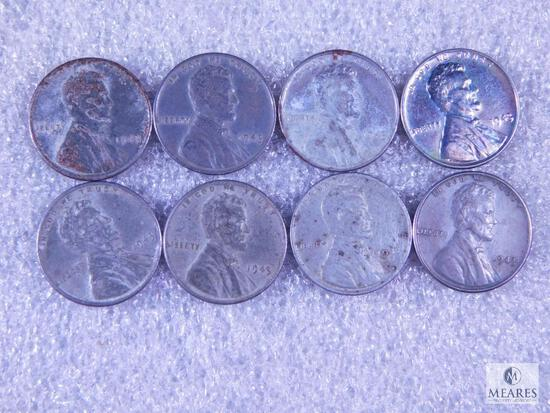 Eight WWII Steel Cents with One BU