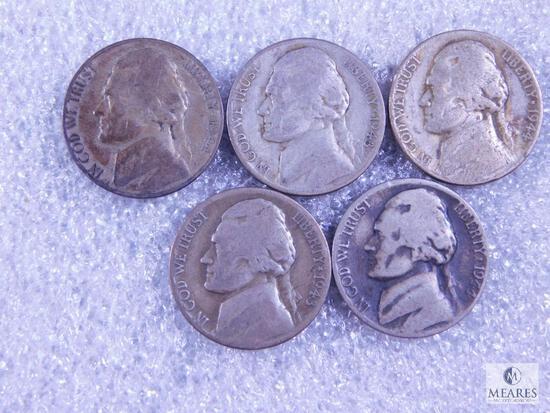 Five Silver Jefferson Nickels from WWII