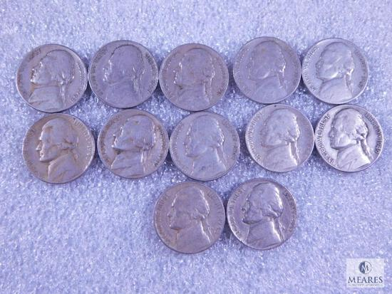 12 Jefferson Nickels - Two in 30s, Seven in 40s, Three in 50s