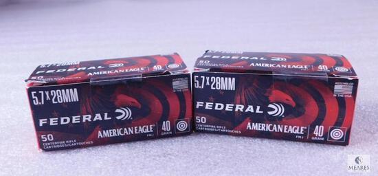 100 Rounds Federal American Eagle 5.7x28 40 Grain FMJ