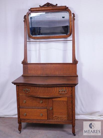 Antique Tiger Oak Wash Stand with Mirror