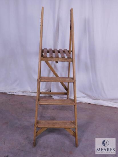 Vintage Wood 3 Step Ladder