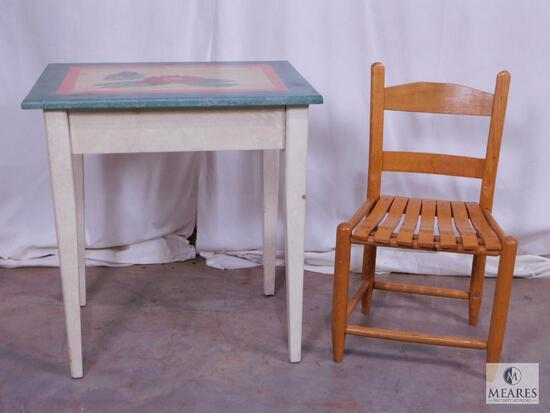 Small Hand-Painted Wood Desk & Childs Wooden Slat Chair