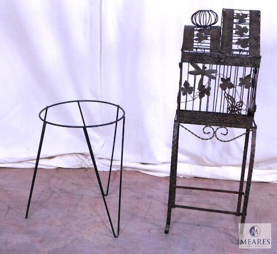 Lot Metal Decorative Birdcage with Stand and Metal Planter Stand