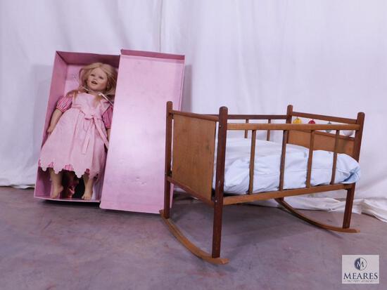 Vintage Lisa Doll by Annette Himstedt in Box with Vintage Wooden Doll Cradle