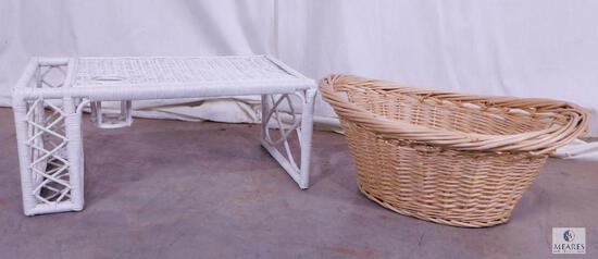 Lot Large Rattan Basket & White Wicker Bed Tray