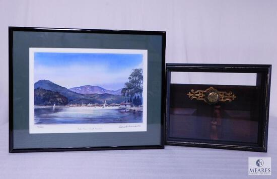 Lake Lure Framed & Signed Print #176 of 500 and Unique Door Knob Shadow Box