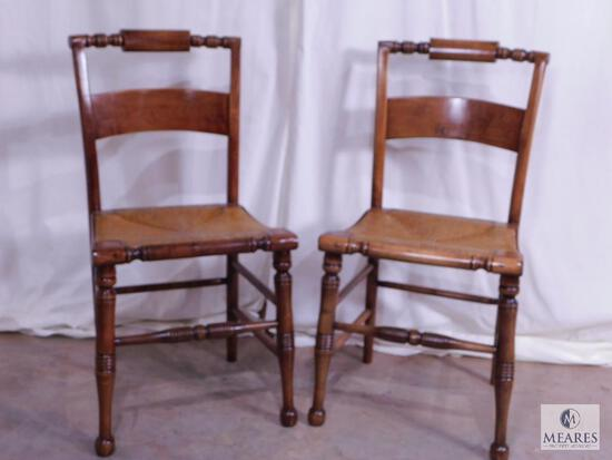 Pair of Vintage Wood & Rattan Seat Dining Chairs