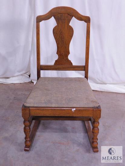 Antique Oak Fiddle Back Childs Rocking Chair