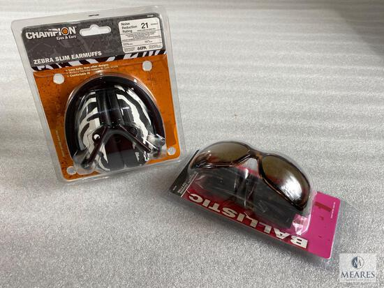 New Champion Exotic Ear Muff and Shooting Glasses Set - Great for Shooting or Sporting Events