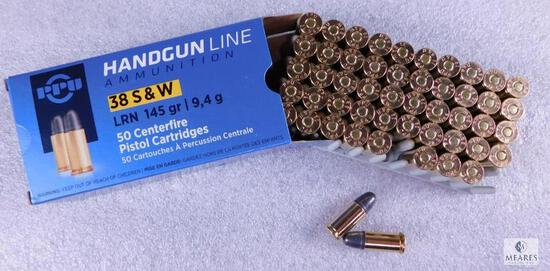50 Rounds PPU .38 S&W LRN 145 Grain Ammo