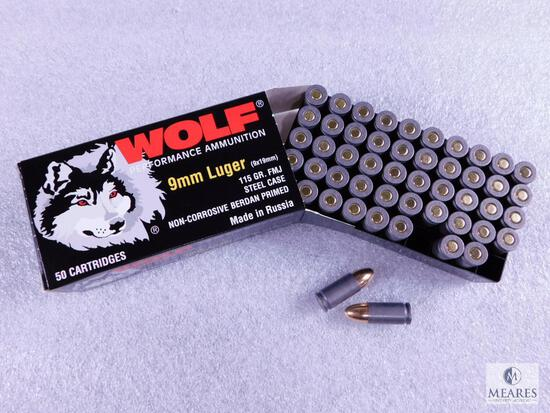 50 Rounds Wolf 9mm Luger 115 Grain FMJ Steel Case Ammo