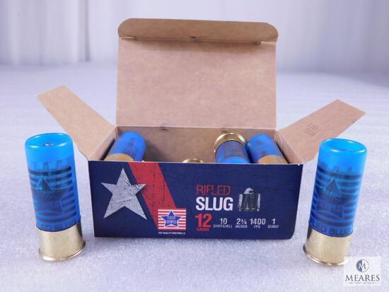 "10 Rounds .12 Gauge Shotgun Slugs. 2 3/4"" 1 Ounce 1400 FPS."
