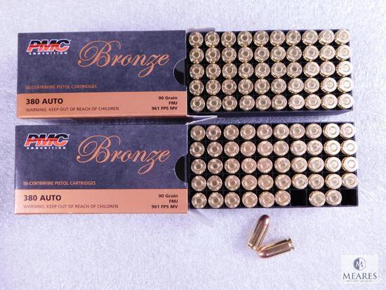 100 Rounds PMC .380 ACP Ammo. 90 Grain FMJ